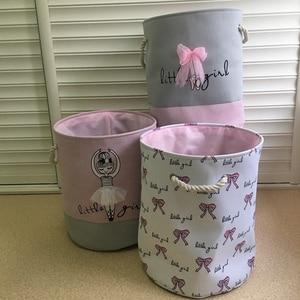 Image 3 - Foldable Laundry Basket for Dirty Clothes Pink Ballet Girl Toys baskets bag Organizer kids Home Storage washing Organization