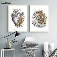 5D mosaicos de diamantes bordado Handmand regalo Vintage anatomía Corazón Floral cerebro DIY diamante pintura Clínica Médico decoración EE609