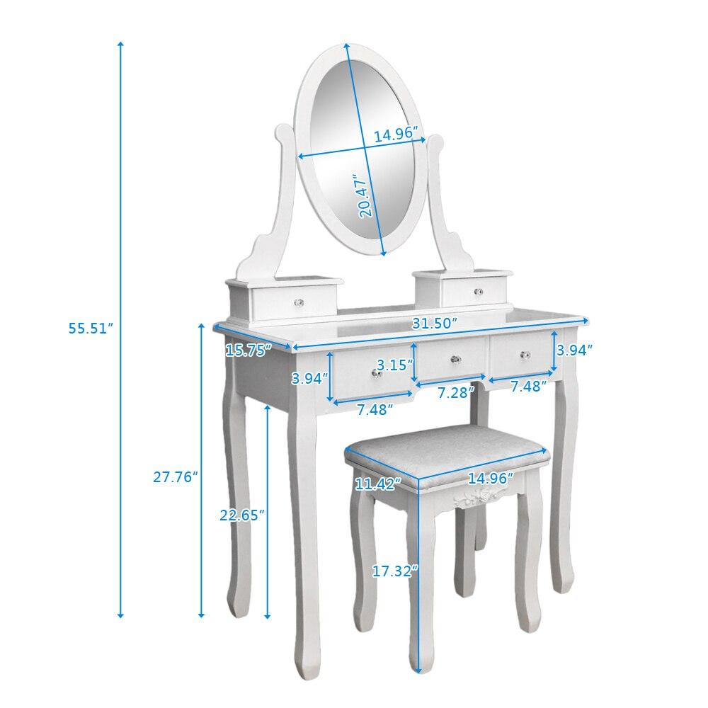 Туалетный столик для макияжа с 5 ящиками зеркальные лампы туалетный столик не с освещенным зеркалом мягкий стул туалетный столик - 6