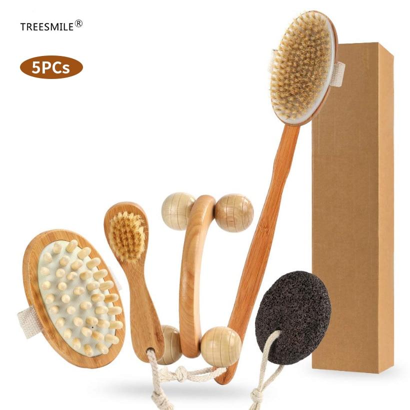 TREESMILE Dry Brushing Body Brush Set, Natural for Dead Skin Exfoliating & Lymphatic Drainage Massage