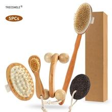 TREESMILE Dry Brushing Body Brush Set, Natural Dry Body Brush for Dead Skin Exfoliating & Lymphatic Drainage Body Massage Brush derek benfield over my dead body