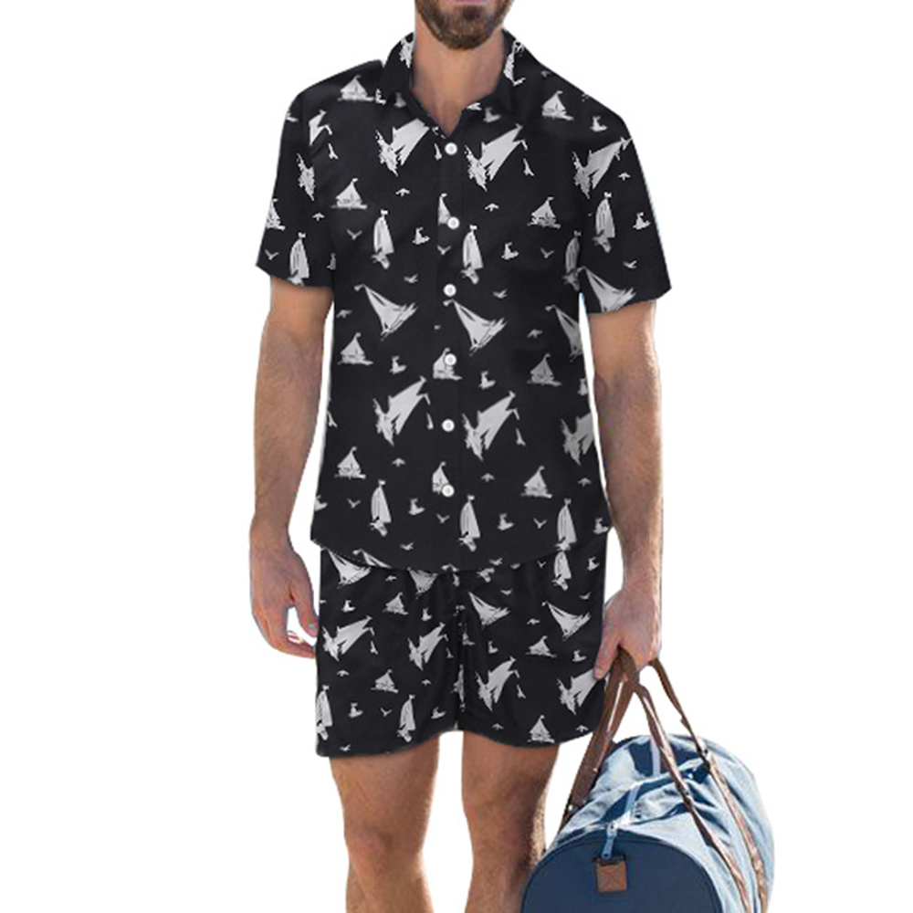 Cartoon Printed Shirt Shorts Men Set Summer 2020 Hawaii Casual Short-sleeve Beach Sets Suit 2 Piece Vetement Homme