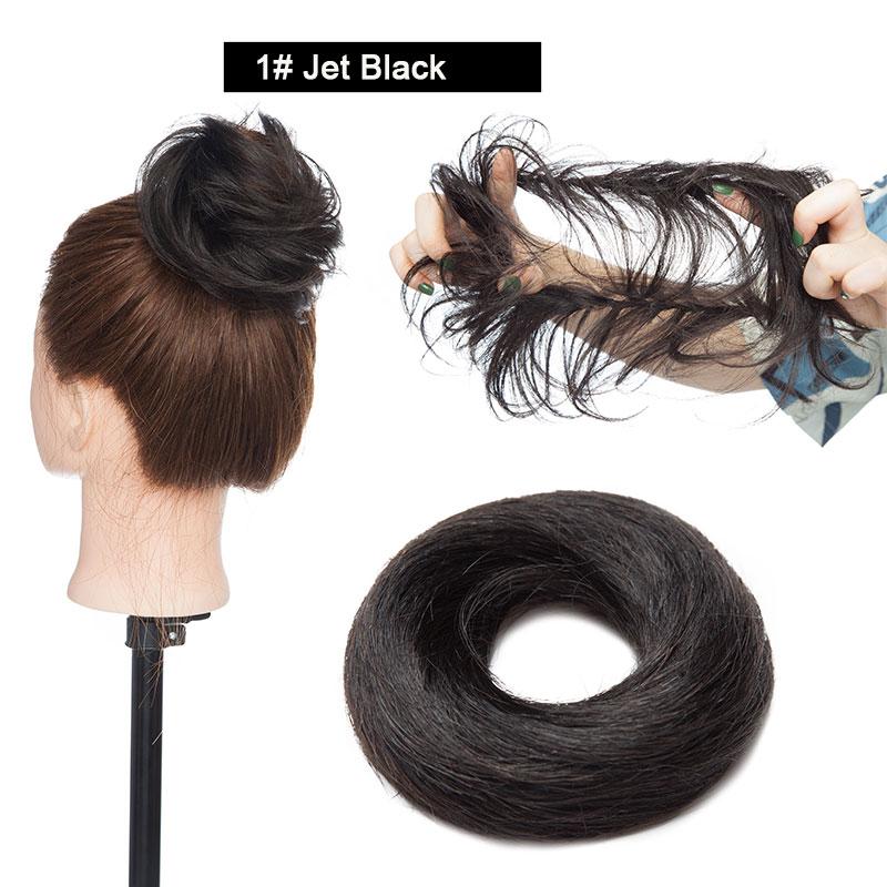 Sego, европейские человеческие волосы, не Реми, резинка, шиньон, 23 г, черный, коричневый, натуральный, Dount, шиньон, 6 цветов, человеческие волосы, чистый цвет - Цвет: #1