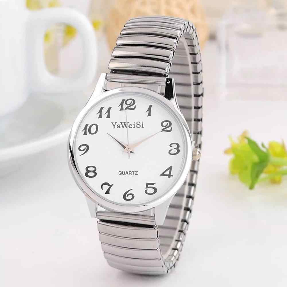 Jam Tangan Wanita Analog QUARTZ Gaun Stainless Steel Band Watch Clock Tali Elastis Teleskopik Hadiah Wanita Fashion S8N2
