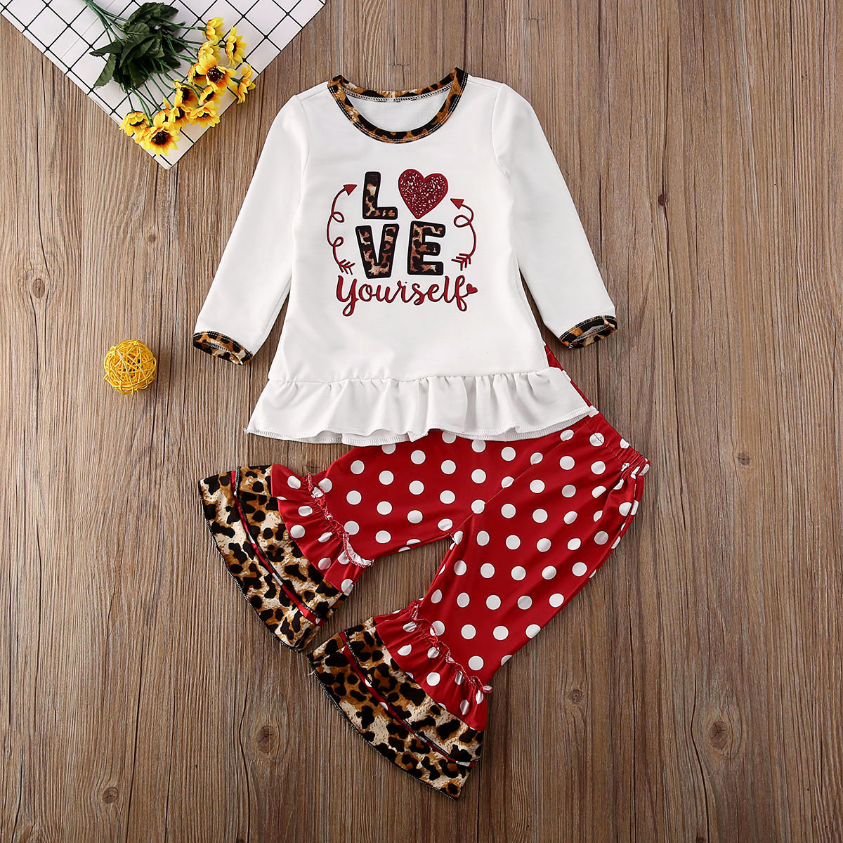 Toddler Kids Baby Girls T-shirt Tops+Bell Bottoms Pants Outfits Clothes 3PCS Set
