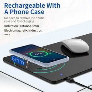 Image 3 - Coolreall טלפון אלחוטי מטען משטח עכבר מהיר טעינה מחצלת עור מפוצל מחשב שטיחי עכבר עבור iPhone 11 פרו X סמסונג S10 Huawei
