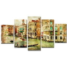 Hot Selling 5 Pieces Home Decor Print oil painting Wall Art Decorations Canvas,Venice Water City Boat