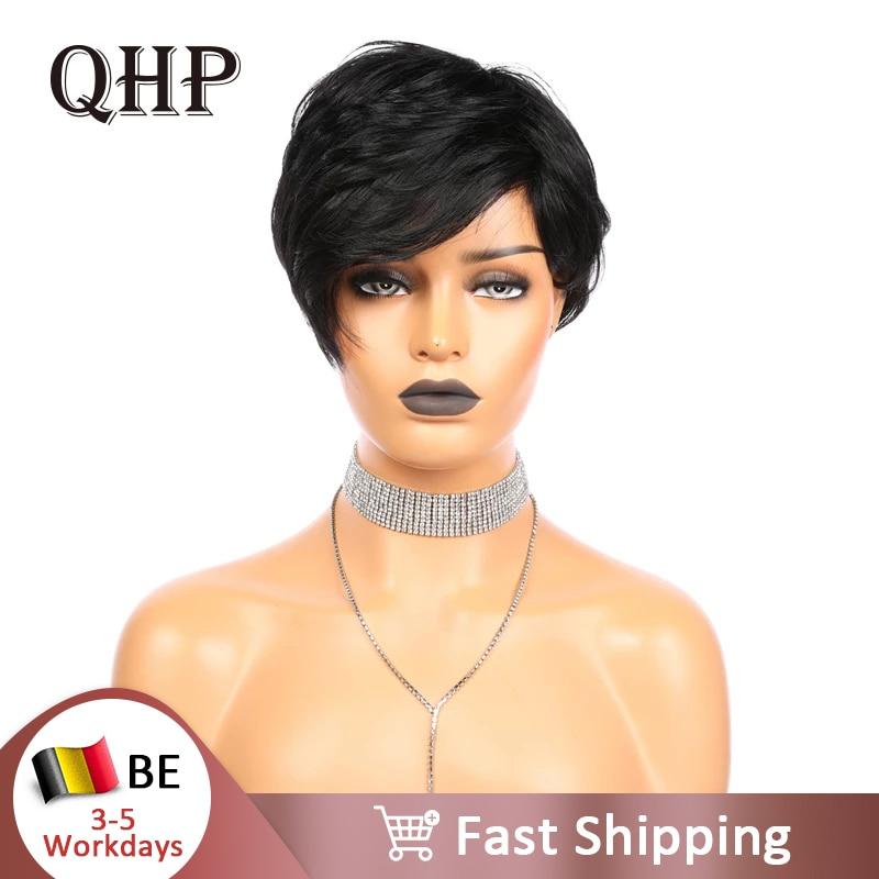 Pixie Cut Straight Short Bob Wigs Natural Black Brazilian Remy Human Hair Wig Full Machine Wig