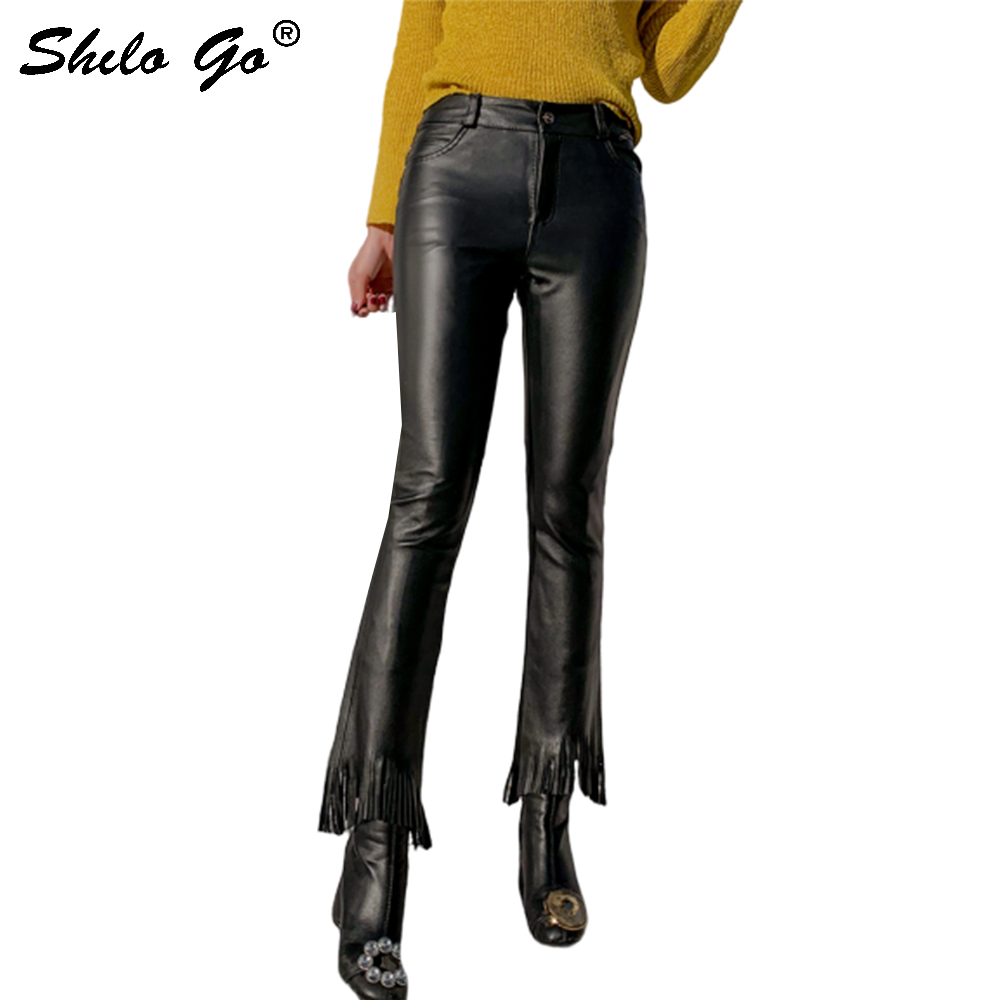 Genuine Leather Pants Minimalist High Waist Tassel Detail Sheepskin Flare Pants Women Autumn Winter Highstreet Slim Trousers