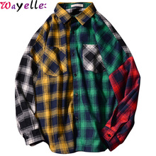 Japanese Long Sleeve Plaid Shirt Mens Casual Jacket Student Spring  Autumn Hip Hop Loose Cool Guy