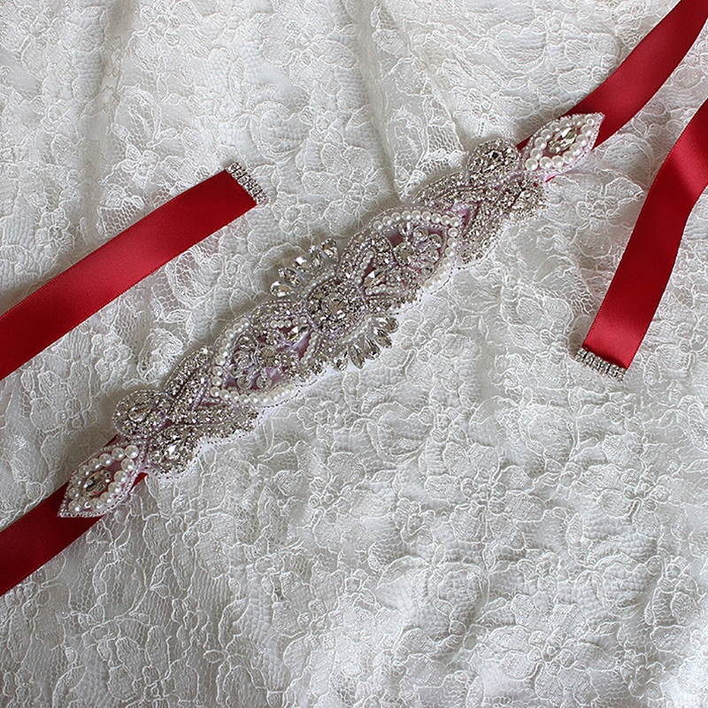 Rhinestone Bridal Waist Belt Satin Ribbon Trim Applique Wedding Dress Gown Decor