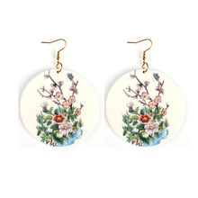 YULUCH Trendy Round Wood Earrings Printed Printing Natural Style Flower Fruit Life Tree Pendant Earrings For Women Female Party(China)