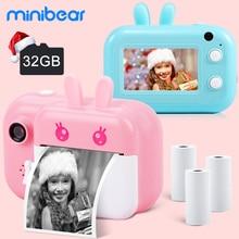 Детская камера Minibear для детей, мгновенная камера 1080P, цифровая камера для детей, принт, игрушка, подарок на день рождения для девочек и мальчи...