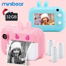 Minibear Children Camera For Kids Instant Camera 1080P Digital Camera For Children Print Camera Toy Birthday Gift For Girl Boys
