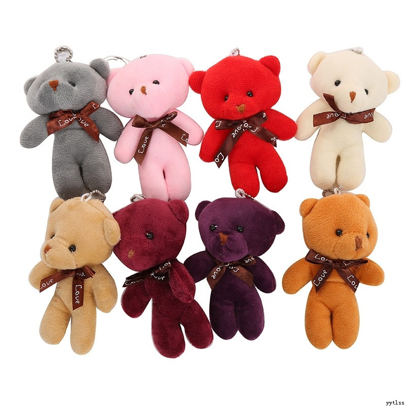 1:12 Mini Stuffed Toy Bear Plush Dolls Kids Cute Animal DIY.A Keychain Gift B6G8