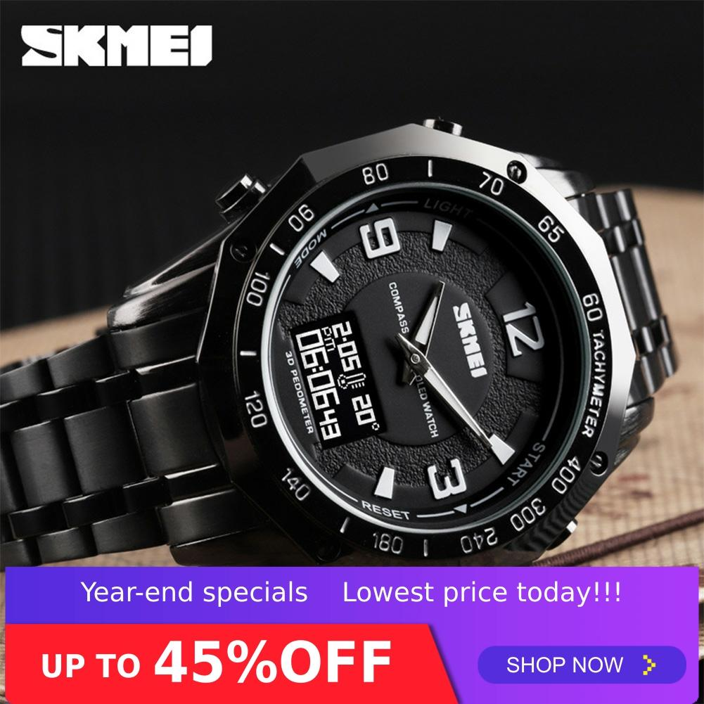 SKMEI Watch Men Dual Display Watches Compass Alarm Calorie Calculation Man Quartz Wristwatches relogio masculino not Smart 1464