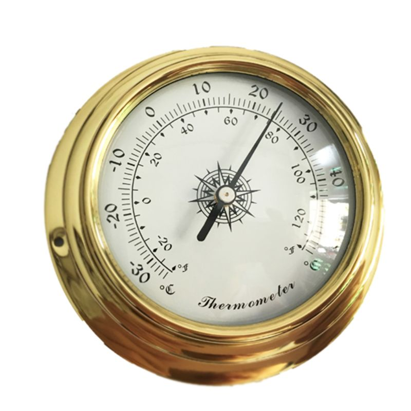 Image 3 - 4 Inches Thermometer Hygrometer Barometer Watches Clock Copper 