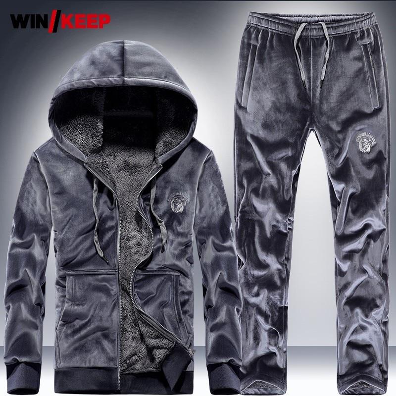 Hoody Sweatshirt Mens Velvet Running Set Thick Fleece Liner Winter Outdoor Sport Tracksuit Jogging Two Piece Sets Sportswear 3XL
