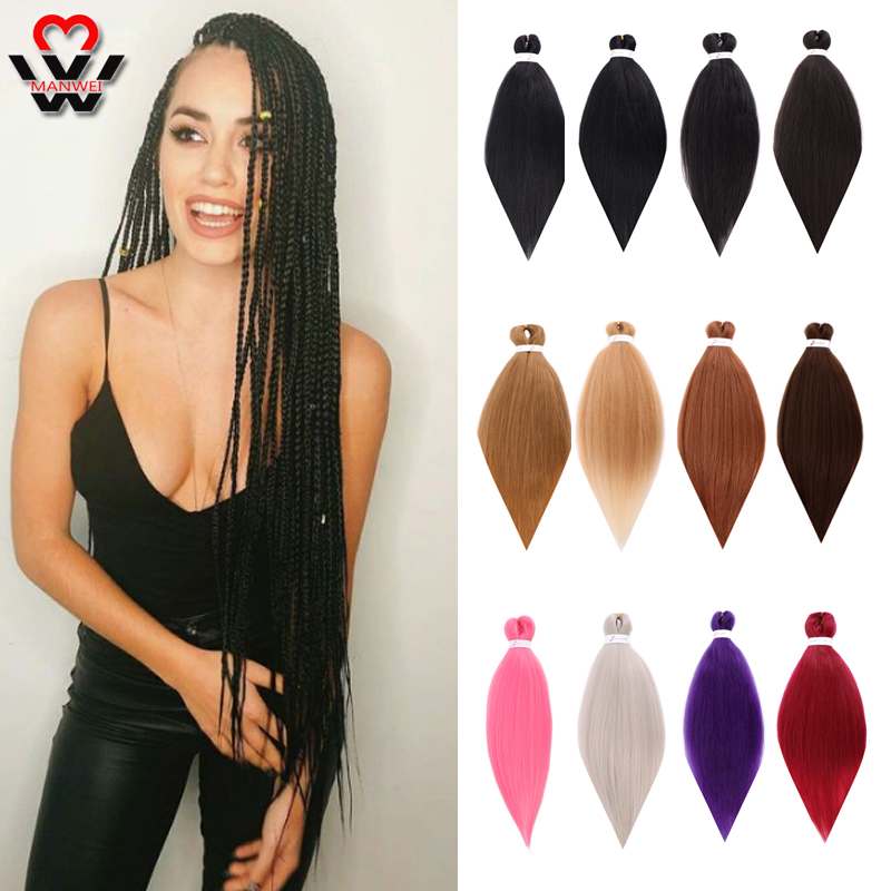 MANWEI Pre Stretched Professional EZ Braiding Hair Perm Yaki Jumbo Braids Soft Synthetic Hair Hot Water Easy Braid