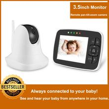 3.5'' High Resolution Baby Monitor Infrared Night Vision Wireless Video Baby Sleeping Monitor with Remote Camera Pan-Tilt-Zoom