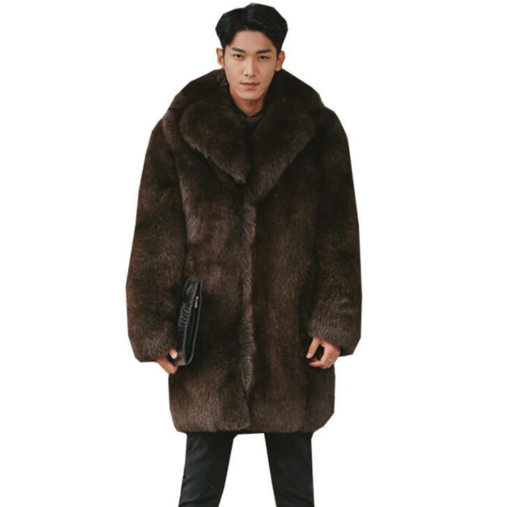 Autumn Faux Mink Leather Jacket Mens Winter Thicken Warm Medium Length Fur Leather Coat Men Jackets Jaqueta De Couro Fashion
