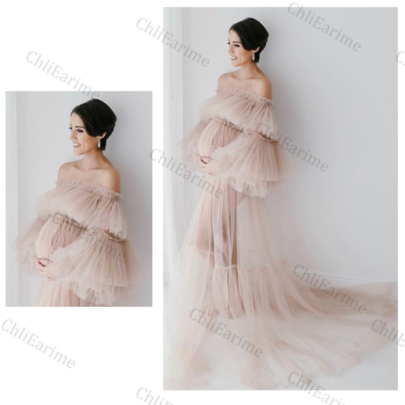 Elegant Bridal Tulle Maternity Dresses Robes for Photography Sheer Robe Puffy Sleeve Fluffy Tulle Maternity Dressing Gowns