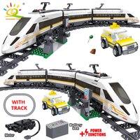 HUIQIBAO 641pcs batteria elettrica City Train High Speed Rail Building Blocks Set di binari ferroviari giocattolo per bambini in mattoni
