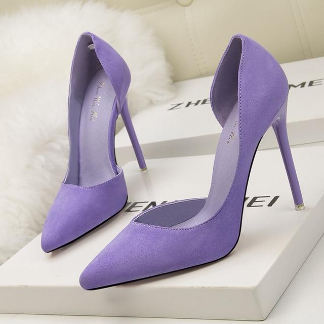 Suede Pointed Toe High Heels 1