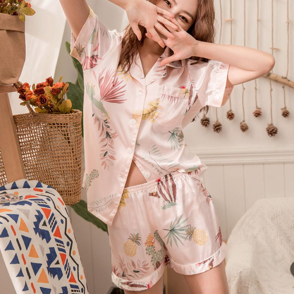 Japanese Simple Short Pyjamas Women 100% Cotton Short Sleeves Ladies Pajama Sets Shorts Cute Cartoon Sleepwear Women Homewear#12