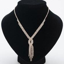 New Trendy Design Tassel Long Statement Necklace Jewelry Women Wedding Accessories Rhinestone Gift N320