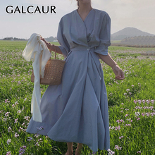 GALCAUR Elegant Dress For Women V Neck Half Puff Sleeve High