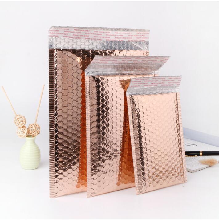 50pcs de haute qualité or Rose bulle enveloppe sac feuille expédition sac postal bulle Mailer cadeau emballage sac