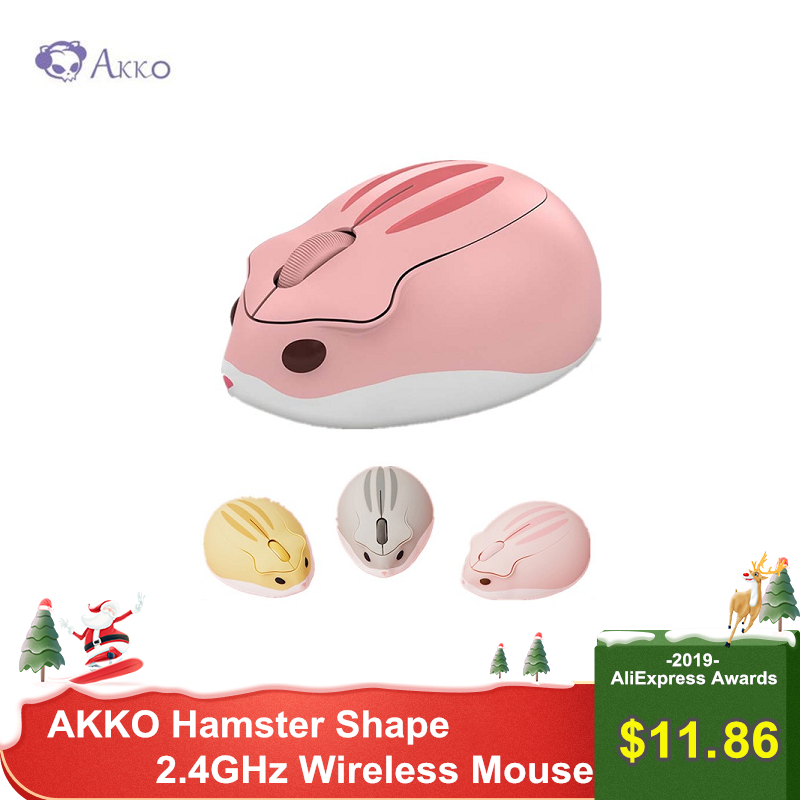 AKKO Hamster Shape 2.4GHz Wireless Mouse Pink 4000DPI USB Connection Mice Cute Shape Gaming Mouse For PC Laptop Kids Girl Gift