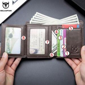 Image 2 - Bullcaptain RFID עור גברים של ארנק עם מטבע ארנק רטרו אופנה גברים של ארנק תכונות חום קצר ארנק כרטיס מחזיק מצמד