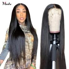 13x6 HD Синтетические волосы на кружеве al парик с прямыми Синтетические волосы на кружеве человеческих волос парики для чернокожих Для женщин ...