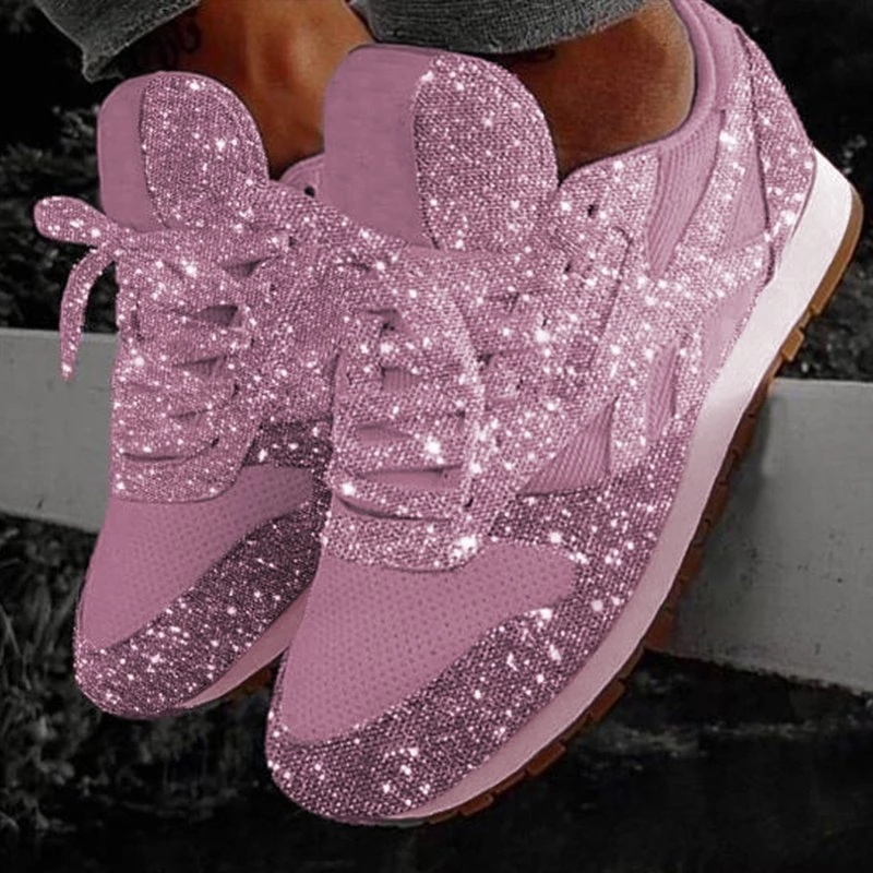 2019 Women Fashion Casual Glitter Sneakers Ladies Mesh Flat Shoes Lace Up Sequin Vulcanized Shoes Outdoor Sport Running Shoes
