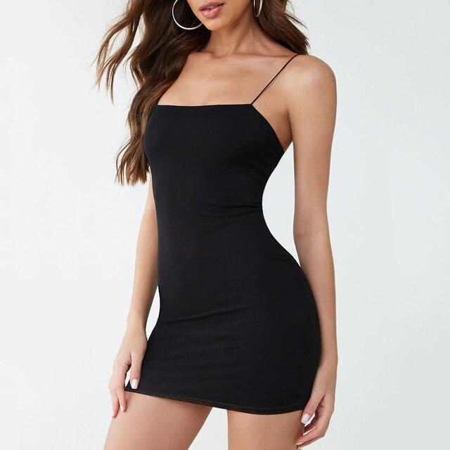 Black Sexy Spaghetti Strap  Sheath Dress 4
