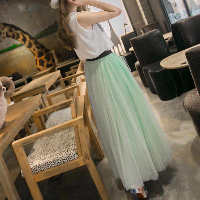 FairyShely 2020 Tulle Pleated Long Skirt Women Summer Elastic Band High Waist Irregular Mesh Lace Warm Skirt Black Office Skirt
