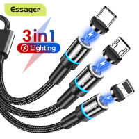 Essager 3 in 1 Magnetic Charger Micro USB Cable for iPhone Android Mobile Phone Fast Charging Magnet USB Type C Cable Wire Cord