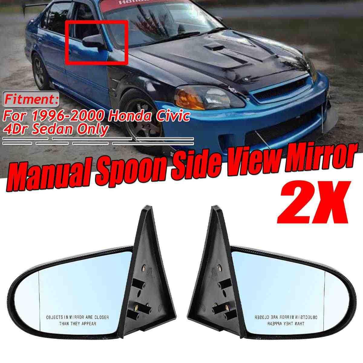 Espejo Retrovisor Con Apariencia De Fibra De Carbono Para Honda Civic Ek 4dr Sedan 2x Espejo Lateral Ajustable Manual 2x Espejo Y Coberturas Aliexpress