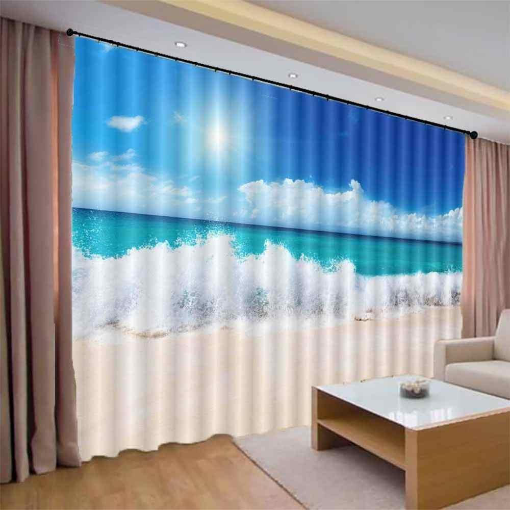 custom home decor photo curtains 3d blue sky white clouds sea living room bedroom modern curtains simple curtain design