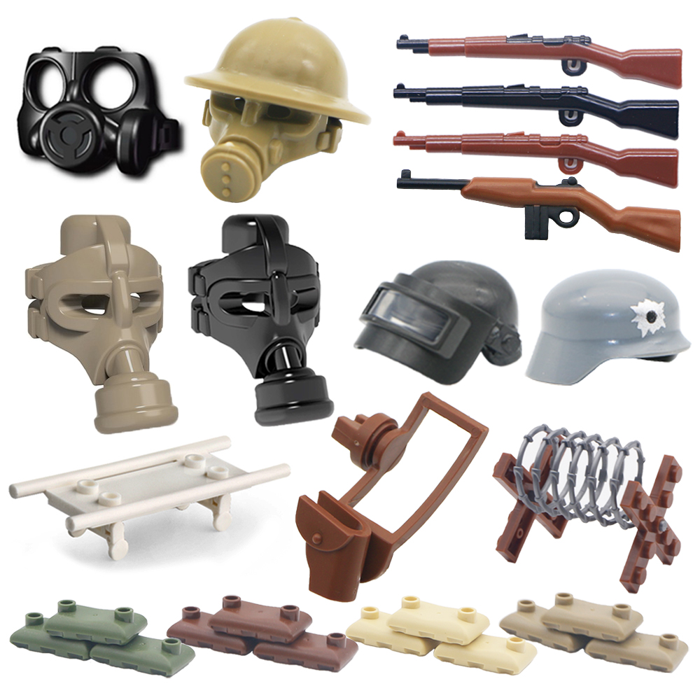 LegoINGlys Military WW2 Weapon Pack Building Blocks SWAT City Police Gas Mask Army Scene Base Gun Accessories MOC Bricks Toys