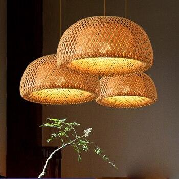 Nordic Pendant Lamp  Wooden Pendant Weaving Bamboo Hanging Lamp Retro Garden Restaurant Study Bedroom Living Room Lamp lightIing 4