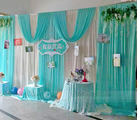 3X6M White Tiffany Blue Wedding Backdrop With Swags Hot Sale Ice Silk Backdground Drape Curtain Party Wedding Decoration