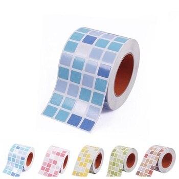 Azulejos impermeables, pegatinas de mosaico para pared, baño, cocina, inodoro, adhesivo, papel pintado de PVC a prueba de aceite, embellecimiento de decoración