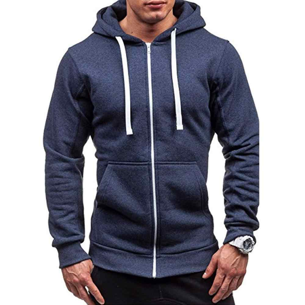 Meihuida Herbst Männer Dicke Kapuze Zip Langarm Muscle Warm Zip-Up Hoodie Gym Sport Casual Fit Sweatshirt