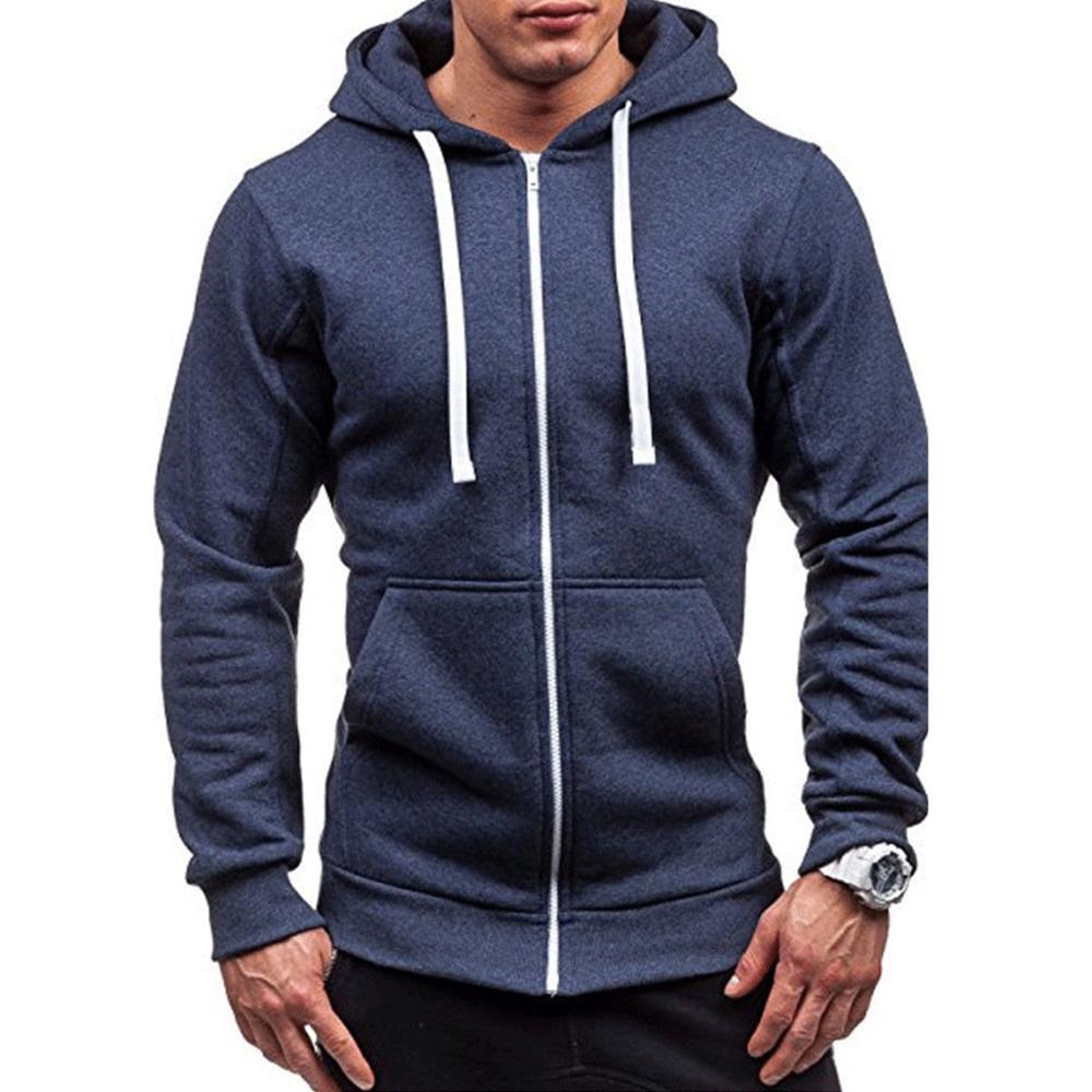 Meihuida Autumn Men Thick Hooded Zip Long Sleeve Muscle Warm Zip-Up Hoodie Gym Sports Casual Fit Sweatshirt