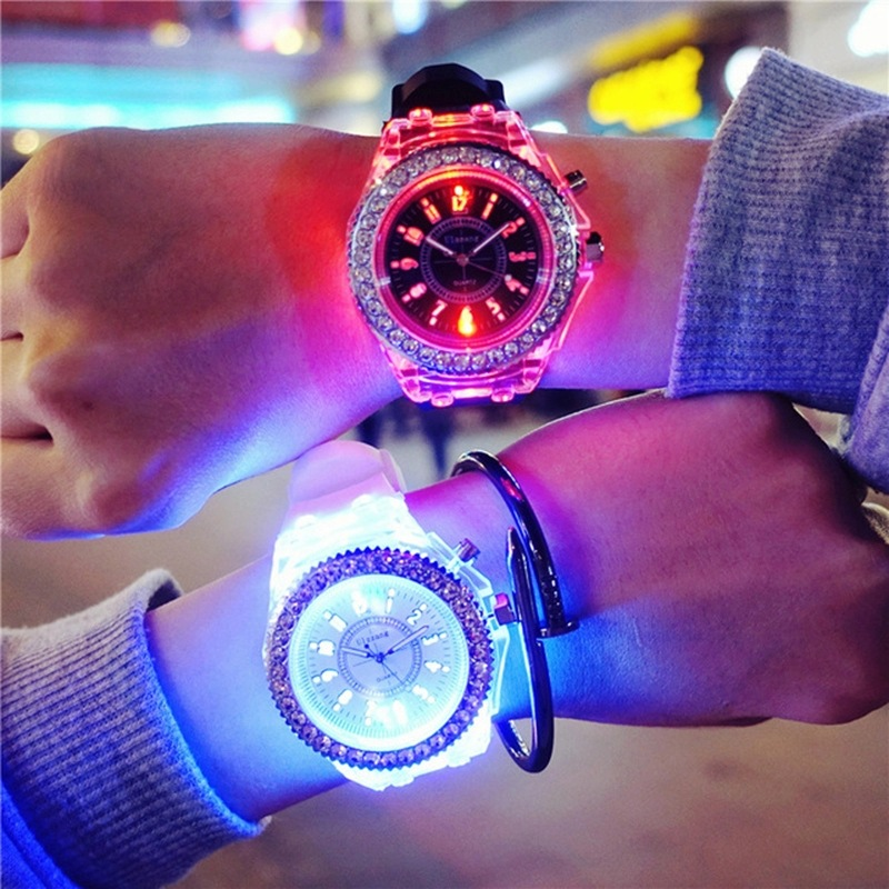 LED Flash Luminous Women Watches 2020 Colorful Rhinestone Kids Girls Men's Watch Trend Students Lovers Silicone Strap WristWatch