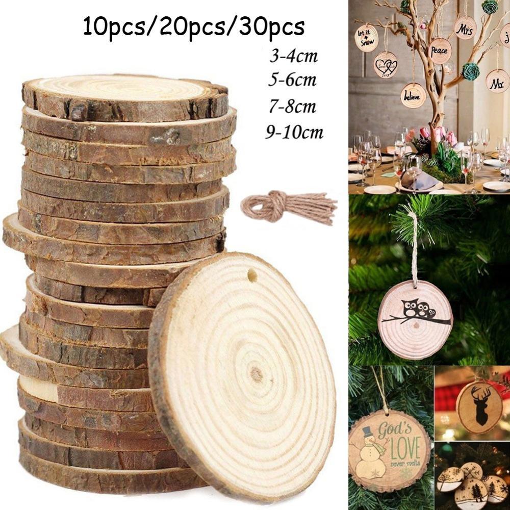 10 pces/20 pces/30 pces madeira log fatia disco 3-10 cm diy círculo redondo discos de madeira artesanato para a decoração da arte da festa de natal do casamento