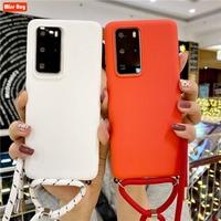 Dla Xiaomi mi 10 t 10 T Pro Redmi uwaga 4 4x5 6 7 8 9 9s uwaga 10 Pro Case pasek łańcuch matowy TPU Case Carry naszyjnik smycz pokrywa